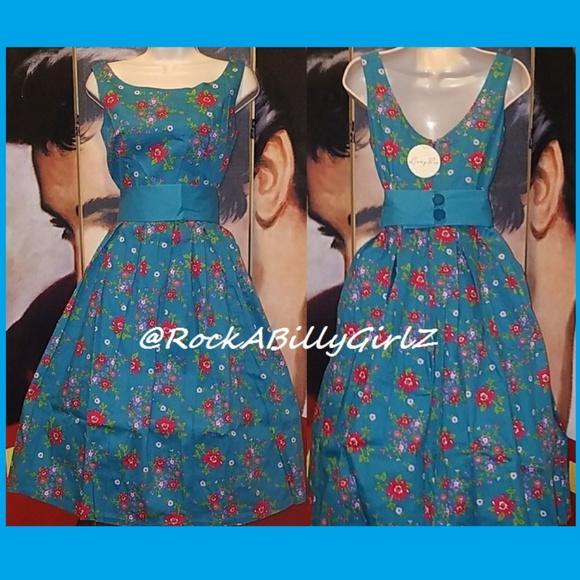 9416e98047f Lindy Bop LANA Dress Blue Floral Retro 50s Swing